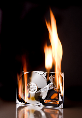 Hard disk on fire