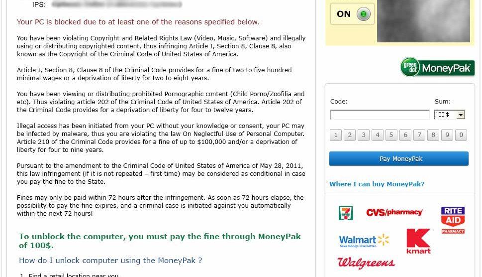 FBI Warning: PC Blocked Virus - MoneyPak (Malware) - Family