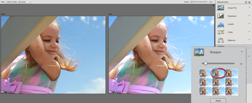 Photoshop Elements 12 Quick Sparpen Panel