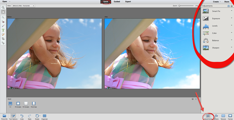 Photoshop Elements 12 Quick Adjustments Panel