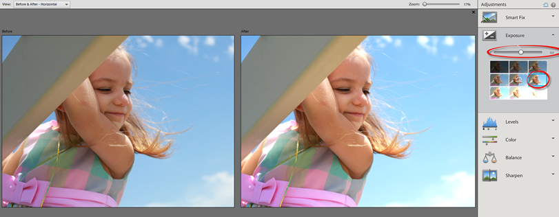 Photoshop Elements 12 Quick Exposure Compensation