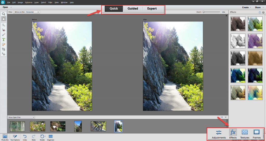 Go to PSE 12 Quick panel and select Effects on the bottom right part of your screen