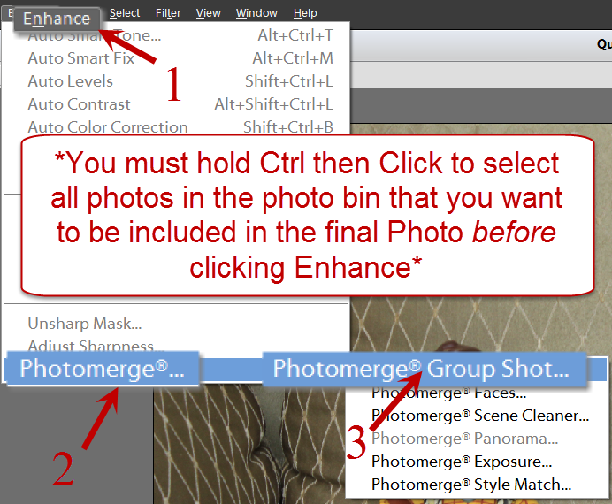 Photoshop Elements 12 how to open photomerge tool, group shot