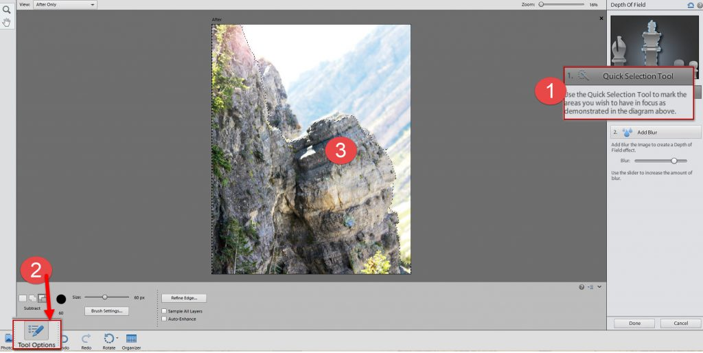 3 selection tool depth of field effect PSE 12