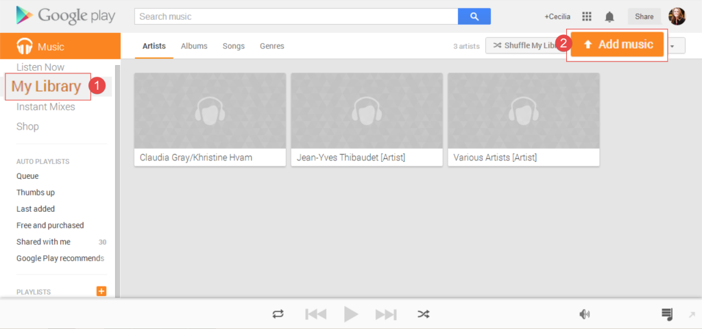 1. Google Play Music Upload