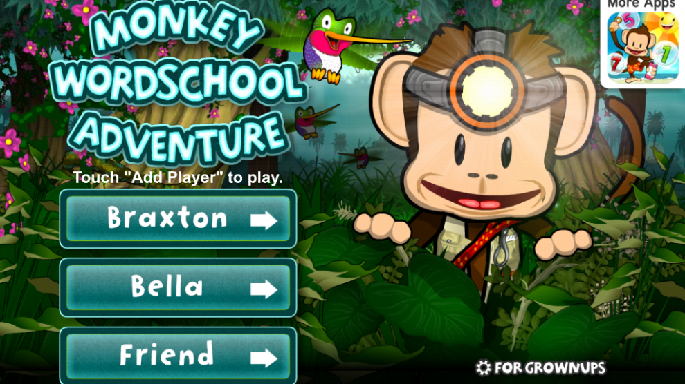 Monkey Wordschool Adventure Menu