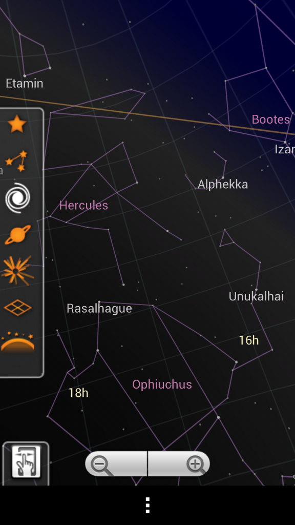 Google Sky Map Viewing Options