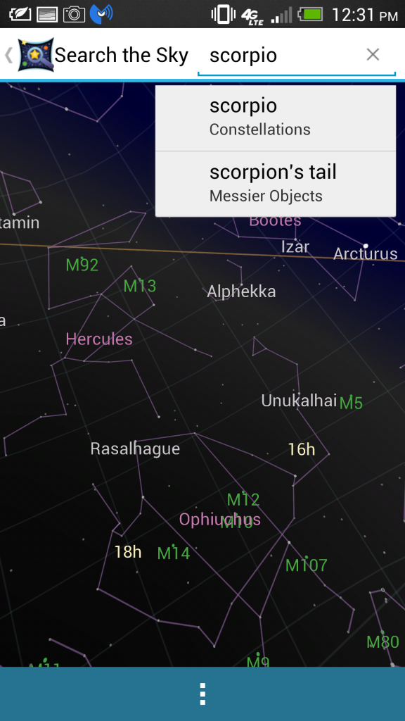 Google Sky Map Search