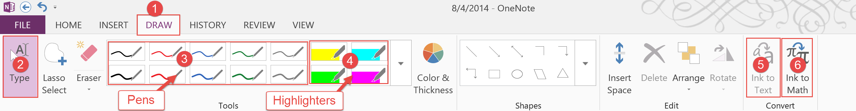 OneNote Draw Options