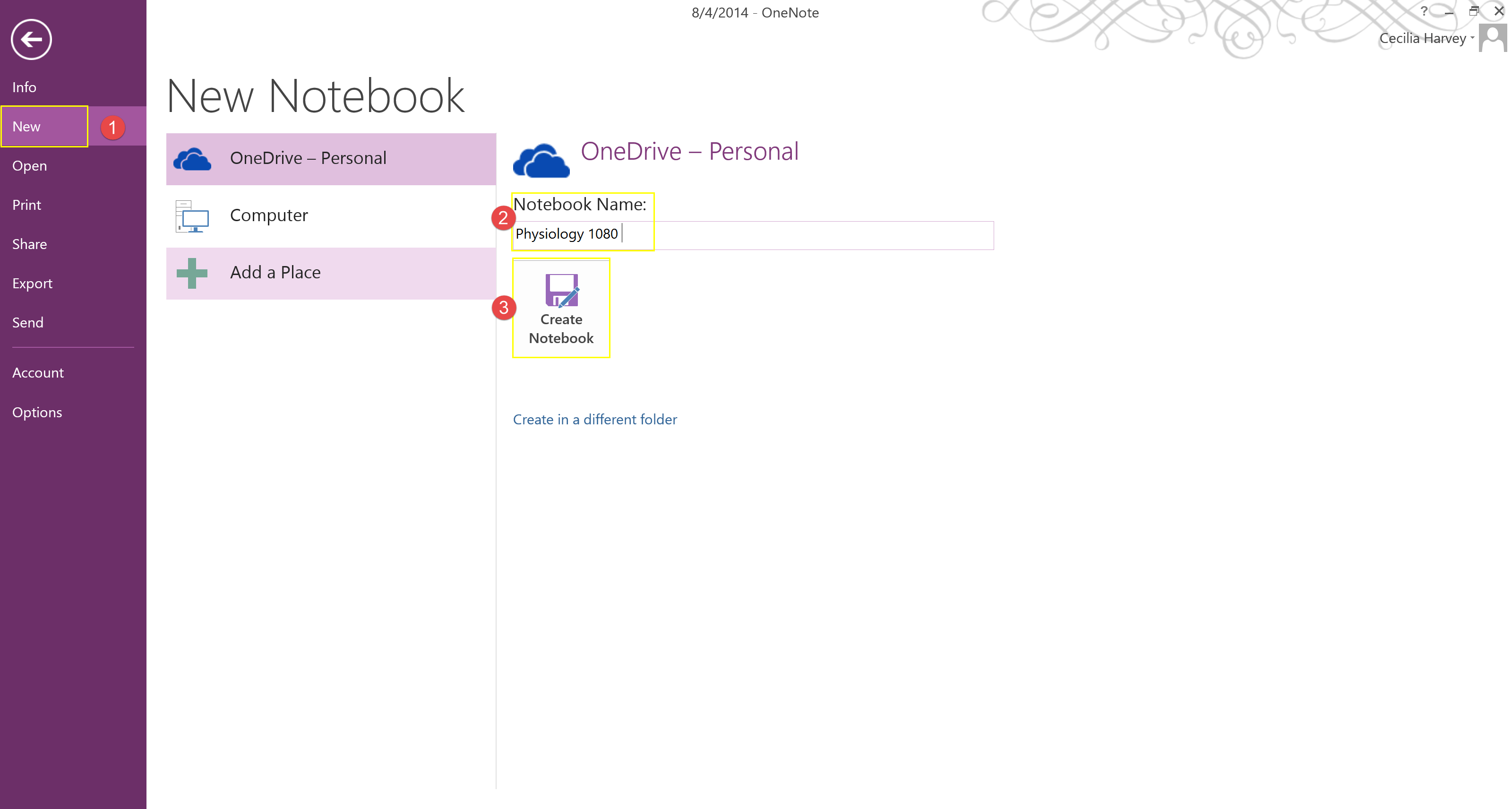 OneNote New Notebook