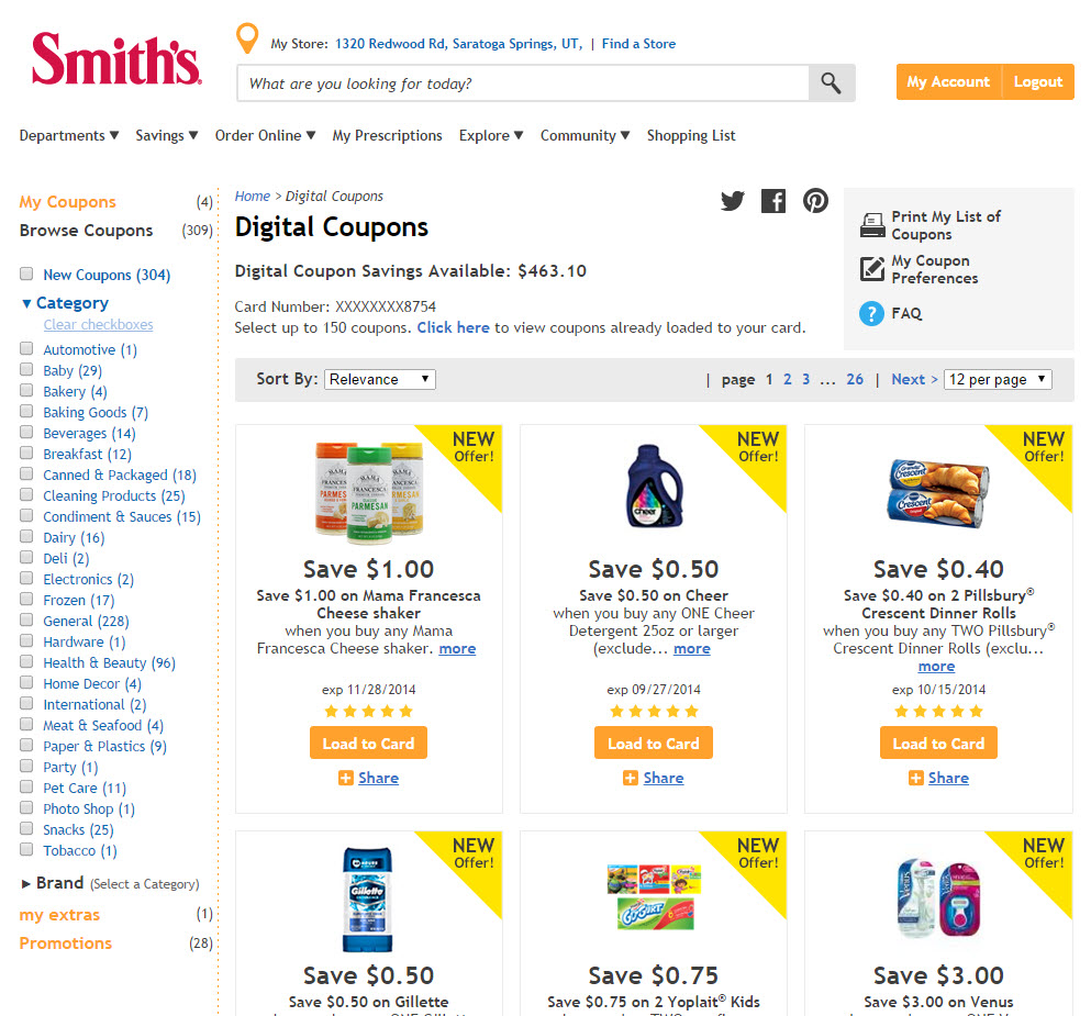 Smith's food and drug digital coupons