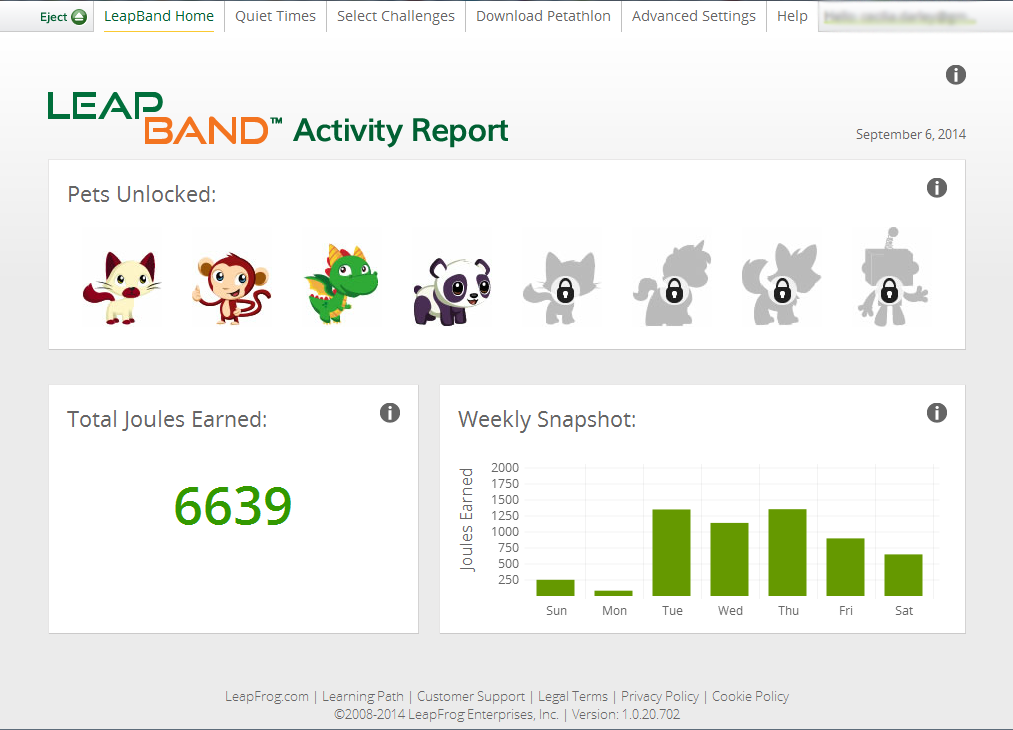 LeapBand Weekly Activity Report