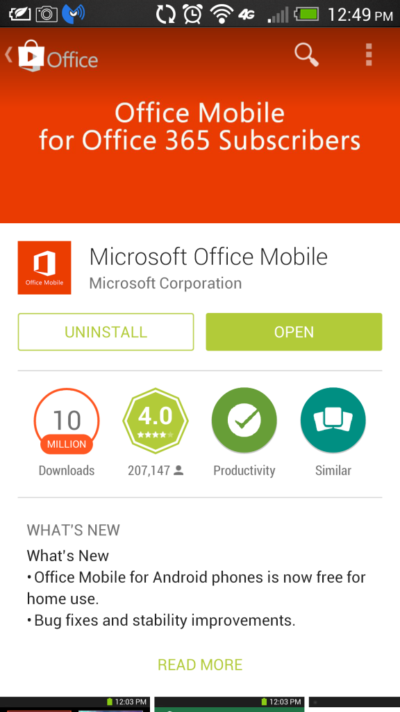 Office Mobile Android Google Play