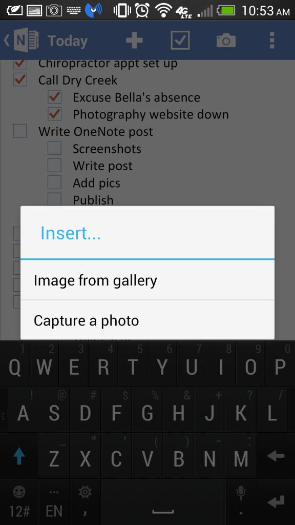 OneNote Add Photo 2