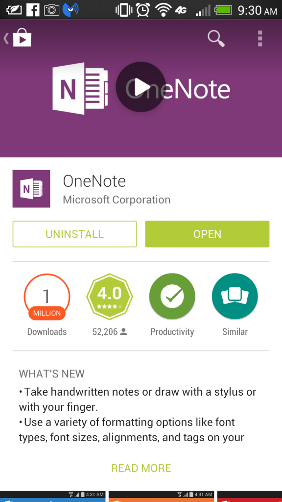 OneNote Google Play Store