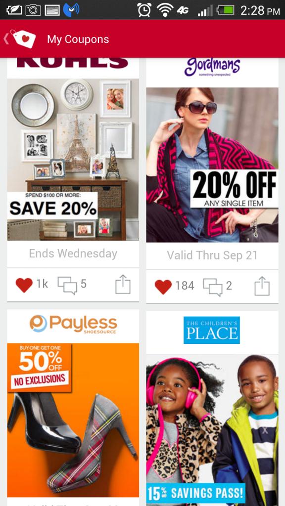 shopular saved coupons