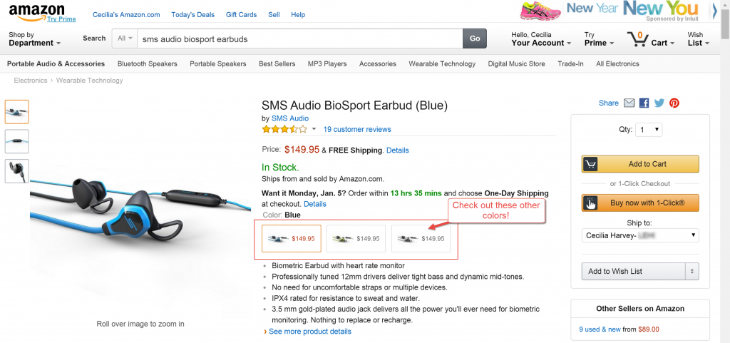 Amazon screenshot SMS Audio BioSport Earbuds