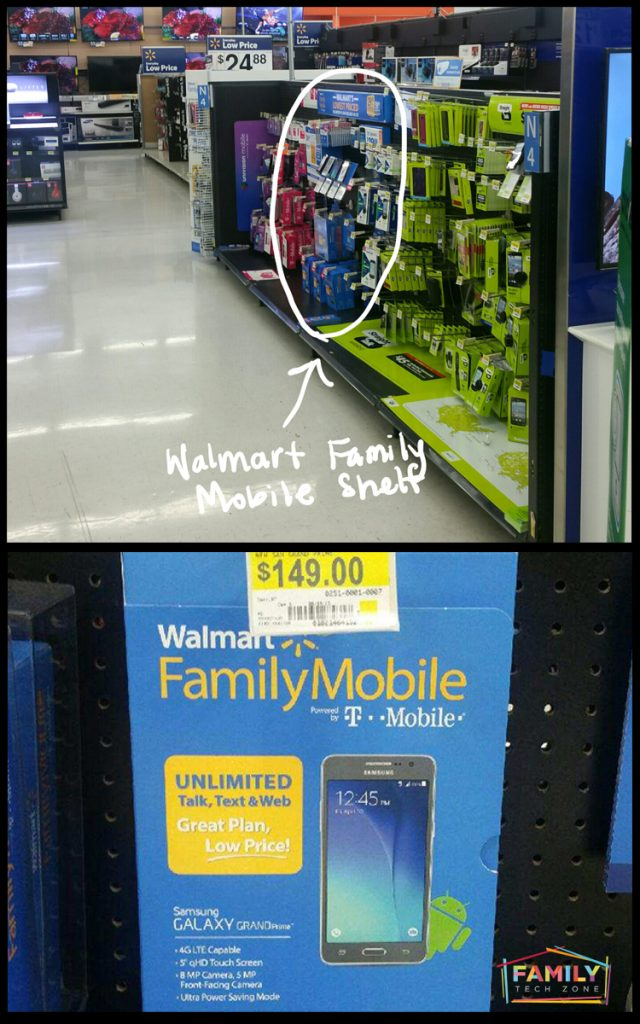 The aisle where you can find Walmart Family Mobile phones and start up kits