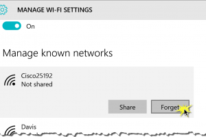 Manage known networks, forget